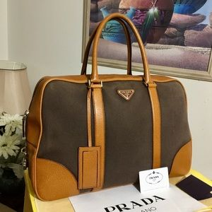 PRADA BROWN CANVAS/LEATHER TRAVEL BAG 🧳